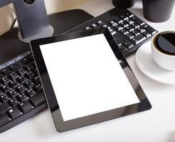 tablet touchpad computer gadget is op kantoor foto