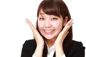Japanse zakenvrouw tevreden foto