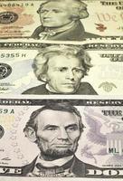 de portretten van Amerikaanse presidenten op bankbiljetten foto