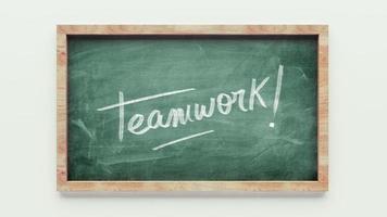 teamwork groene schoolbord tekenen