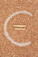 euro-symbool gemaakt van tarwe foto