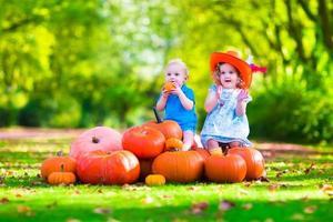 kinderen spelen op pompoen patch foto