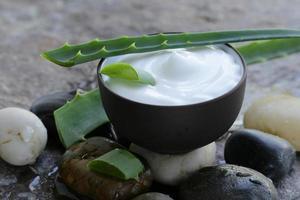 cosmetische crème lotion met natuurlijke groene verse aloë vera foto