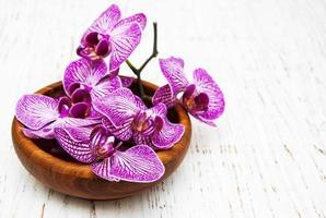 kom met orchideeën