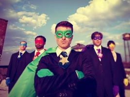 zakenlieden superheld ambities skyline succes concept foto