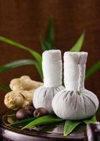 spa kruiden samenpersende bal met kruiden en blad. foto