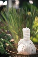 Thaise kruidenbal hete kompresmassage voegt kleur retro stijl toe foto