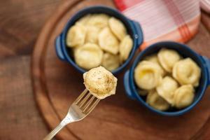vlees dumplings - Russische gekookte pelmeni in plaat