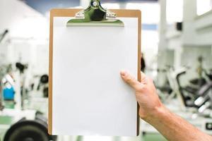 trainingsschema in de sportschool foto