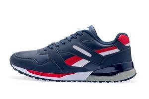enkele blauwe sportschoenen met schoenveter foto