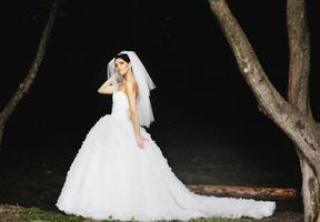mooie Kaukasische brunette bruid. foto