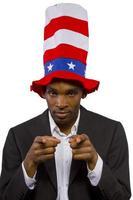 zwarte Afro-Amerikaanse man verkleed als oom sam