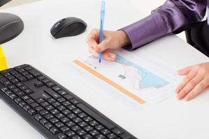 jonge vrouw op kantoor maakt een financiële grafiek foto