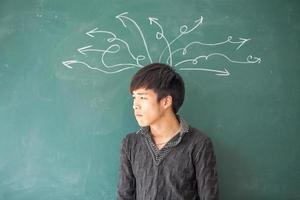 Aziatisch mannelijk denken foto