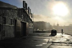 mist stad foto
