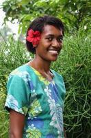 portret vreedzame eilandbewoner meisje foto