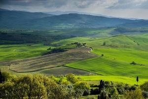 zonsondergang in cortona. toscane pienza. Italië. Europa. foto