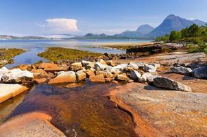 kleine rivier ontmoet Noorse fjord foto