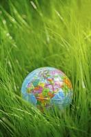 wereldbol op gras. dag van de aarde, milieu concept