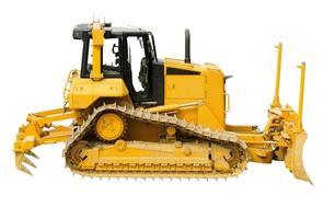 gele bulldozer, geïsoleerd op wit foto