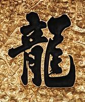 Aziatische kalligrafie - draak foto