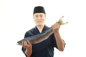 lachende Aziatische chef foto
