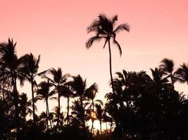 zonsondergang van het eiland Hawaï foto