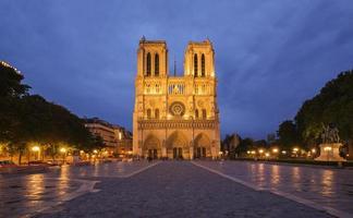 Notre Dame de Paris bij avondschemering, Frankrijk