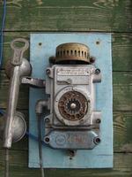 oude Russische telefoon, Barentsburg, Spitsbergen, Noorwegen.
