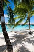 Frans-Polynesië bungalows boven het water foto