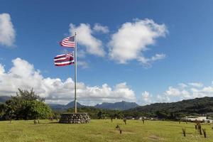 VS en Hawaiiaanse vlag in Oahu, Hawaï foto