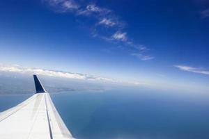 uitzicht op het eiland Taiwan vanuit het vliegtuig foto