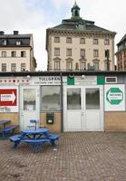 douanestation in de haven van stockholm. stan gamla op achtergrond, foto