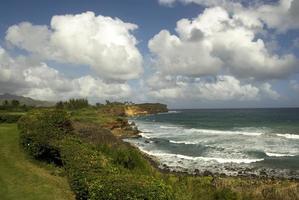 kawai, hawaii, kust met blauwe lucht en witte wolken