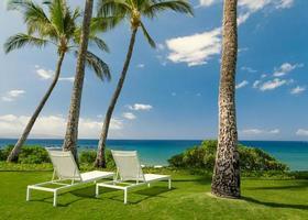 zonnig tropisch strand foto
