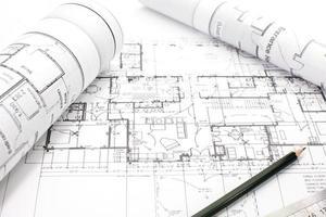 architectonisch project op papier foto