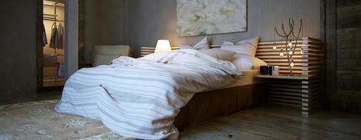 interieur slaapkamer, rustieke stijl