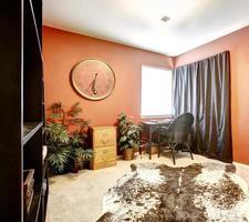 fel oranje kamer met koeienhuid tapijt