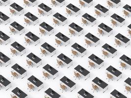 bovenaanzicht van de symmetrische zakelijke werkplekken op witte vloer foto