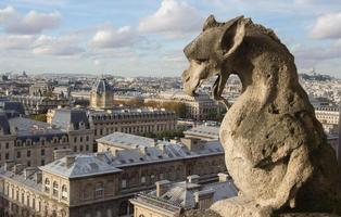 gargoyley over Parijs verlicht met de avondzon foto
