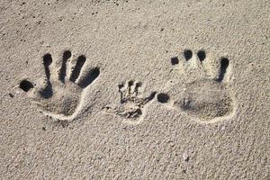 familie palm afdrukken op zand foto