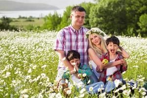 familie hebben picknick op de weide foto
