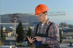 ingenieur op de bouwplaats foto