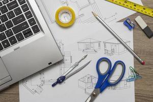architect tekeningen foto