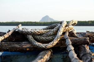 kabel in de oester landbouw, Thailand. foto