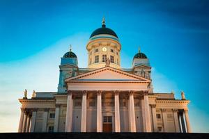 Kathedraal van Helsinki, Helsinki, Finland. zomer zonsondergang avond foto