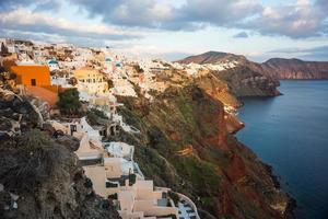 oia bij zonsondergang, santorini, griekenland foto