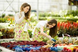 jonge vrouwen in bloementuin foto