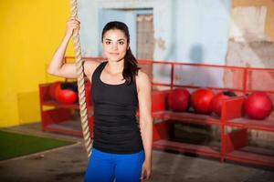 genieten van haar gym training
