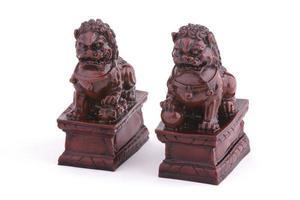 paar aardewerk Chinese beschermer leeuwen foto